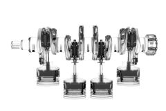 4 Zylinder reizbares 3D übertrug Weiß Stockfoto