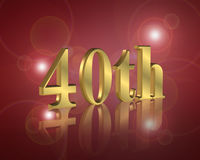 40ή πρόσκληση γιορτής γενεθλίων Στοκ φωτογραφία με δικαίωμα ελεύθερης χρήσης
