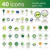 40个生物eco绿色图标混杂本质 库存照片