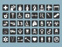 40 икон медицинских Стоковые Изображения