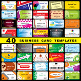 40 business cards. 40 color vector template for horizontal business cards Royalty Free Stock Images