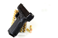40 Caliber Handgun And Ammunition Stock Photo