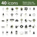 40 iconos: flores, árboles, eco, naturaleza, jardín Imágenes de archivo libres de regalías