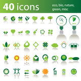 40 icons: eco, bio, nature, green, misc Royalty Free Stock Images