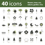 40 icons: flowers, trees, eco, nature, garden. Collection of 40 green colored icons about flowers, trees, eco, nature, garden, misc Royalty Free Stock Images