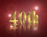 40.o Invitación de la fiesta de cumpleaños Foto de archivo libre de regalías