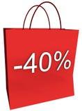 40 per cento fuori dal sacchetto di acquisto Fotografia Stock Libera da Diritti