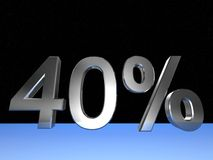 40 percent. 3d rendered numeric and percentage with space bacground Stock Photography