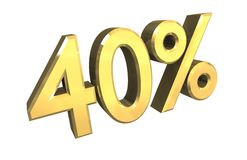 40 percent in gold (3D). 40 percent in gold (3D made Royalty Free Stock Photo