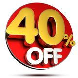 40 Percent Off 3D.with Clipping Path. Stock Photo