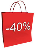 40 Percent Off Shopping Bag Royalty Free Stock Photo