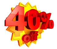 40 percent price off discount Stock Images