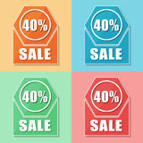 40 percentages sale, four colors web icons Royalty Free Stock Image