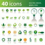 40 pictogrammen: eco, bio, groene aard, misc vector illustratie