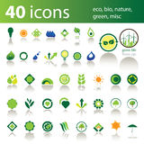 40 pictogrammen: eco, bio, groene aard, misc Stock Foto's