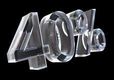 40 por cento no vidro (3D) Imagem de Stock