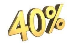 40 pour cent en or (3D) Illustration Stock