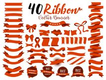 40 Red Ribbon Vector Illustration With Flat Design. Included The Graphic Element As Retro Badge, Guarantee Label, Sale Tag, Discou Stock Photos