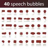 40 Sprache-Luftblasen-Ikonen Stockfotografie