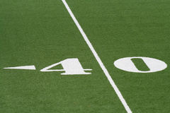 40 yard line of soccer field. Closeup of 40 yard line on American soccer or football field Stock Image