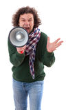 40 year old man with megaphone Royalty Free Stock Photos