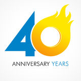 40 Years Old Celebrating Fiery Logo. Stock Photo