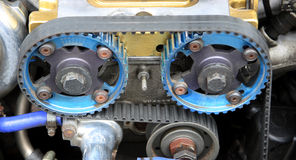 400 horse power race car engine. Cam belts on a powerful race engine stock photo