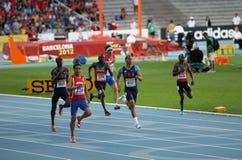 400 Meter abschließend auf dem 2012 IAAF Weltjüngeren Stockfoto