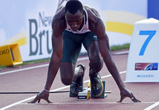400 metres men nigeria. MONCTON, CANADA - JULY 21: Tobi Ogunmola of Nigeria prepares to run in the men's 400 metres at the 2010 IAAF World Junior Championships Stock Photos