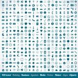 400 olika symbolssymboler och designelement Arkivfoto