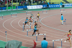 400m hurdle final of 16th asian game Royalty Free Stock Photo