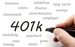 401k, das handgeschrieben ist Stockbilder