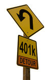 401k Detour Road Sign Stock Images