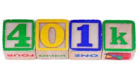 401K escrito nos blocos Fotografia de Stock