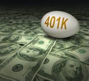 401k financiële de dollars van pensioneringsbesparingen Royalty-vrije Stock Foto's