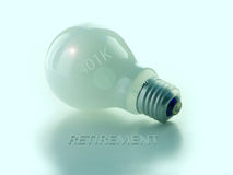 401K Light Bulb. 401 K light bulb with retirement in shadow Royalty Free Stock Photo