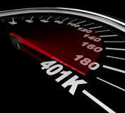 401K - Number on Speedometer. The needle on a speedometer points to the number 401K Royalty Free Stock Images