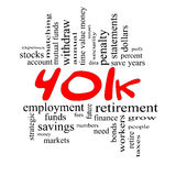 401k Word Cloud Concept in Red & Black Stock Image