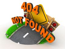 404 Error. 3D Concept on White Background stock illustration