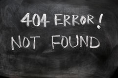 404 error of not found. Webpage 404 error of not found written on blackboard royalty free stock images
