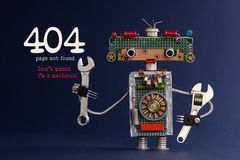 404 Error Page Not Found Concept. Don`t Panic I`m A Mechanic. Hand Wrench Adjustable Spanner Robot Handyman On Dark Blue