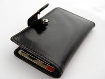 黑色开放钱包 免版税库存图片
