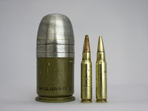 40mm grenade & 7.62mm bullet Royalty Free Stock Images
