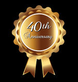 40th anniversary medal. In gold effect stock illustration