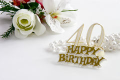 40th Birthday sign with pearls and silk rose Royalty Free Stock Image