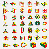 41 Impossible objects. Vector illustration of a geometrical impossible objects on white background stock illustration
