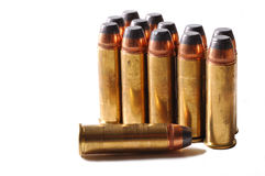 41 magnum ammo. 41 Magnum pistol bullet isolated on a white background Royalty Free Stock Images
