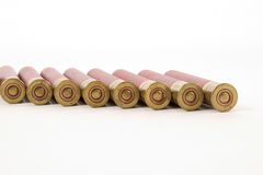 410 shotgun shells, brass end view Royalty Free Stock Photos