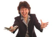 412现金兴高采烈的妇女 免版税库存照片