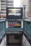 时代广场42圣地铁站入口在纽约 免版税图库摄影